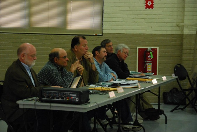 County commissioners listening intently to testimony at the Strata CUP public hearing.
