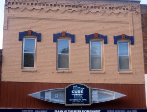 Close up of CURE Bldg front facade
