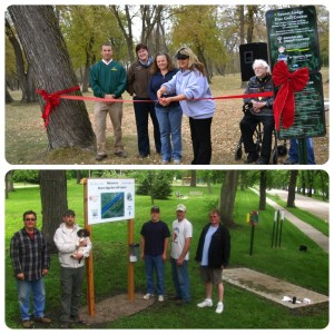 Top: Disc Golf Course Grand Opening in Montevideo. Bottom: Signs in at Granite Falls Disc Golf Course.