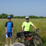 Brian, adventure guide for this biking event, with his grandson.