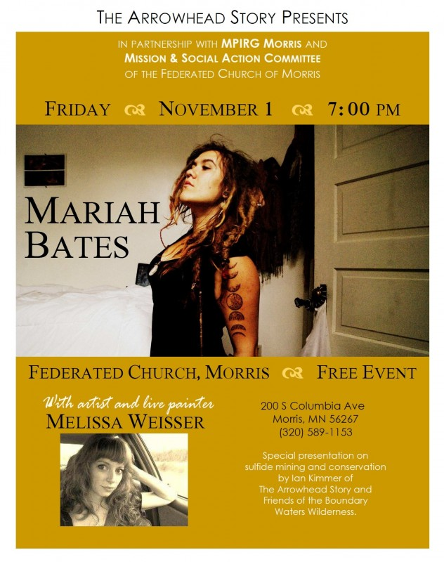 Arrowhead presents Mariah Bates poster_MPIRG promotion