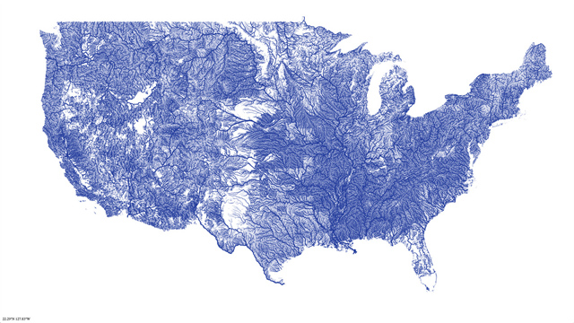 A Map of Every River in America by Nelson Minar