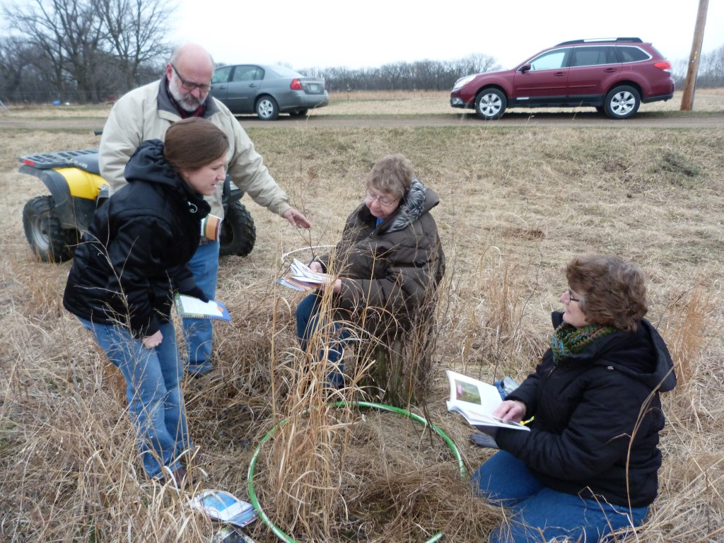 While learning how to identify grasses and forbs, participants used the revolay survey method estimate the amount of a species in a geographical area.