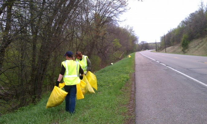 Highway clean up crew