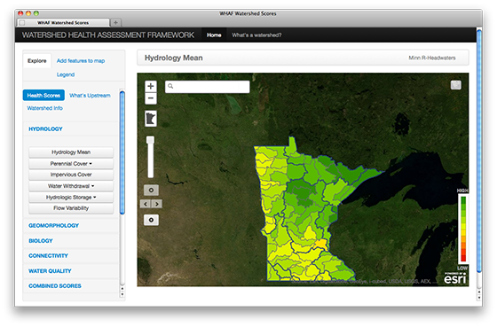 "MN DNR Watershed Health Assessment Framework: This interactive site lets you look up what watershed you live in and the relative ""health"" of that watershed based on a number of factors."