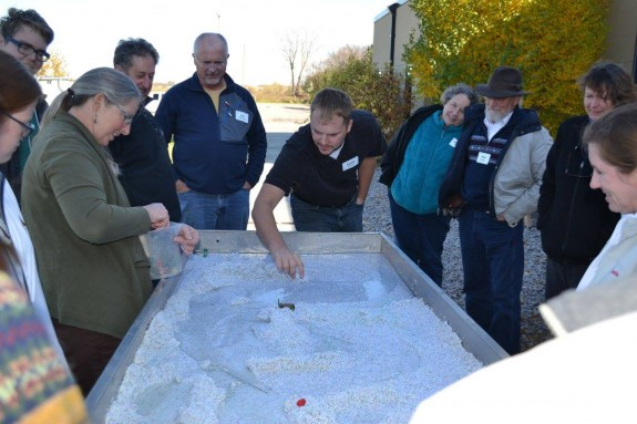Participants manipulate scenarios for water flow on the Stream Model simulation.