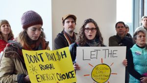 Protesters for Energy Democracy at Minnesota State Capitol offices.