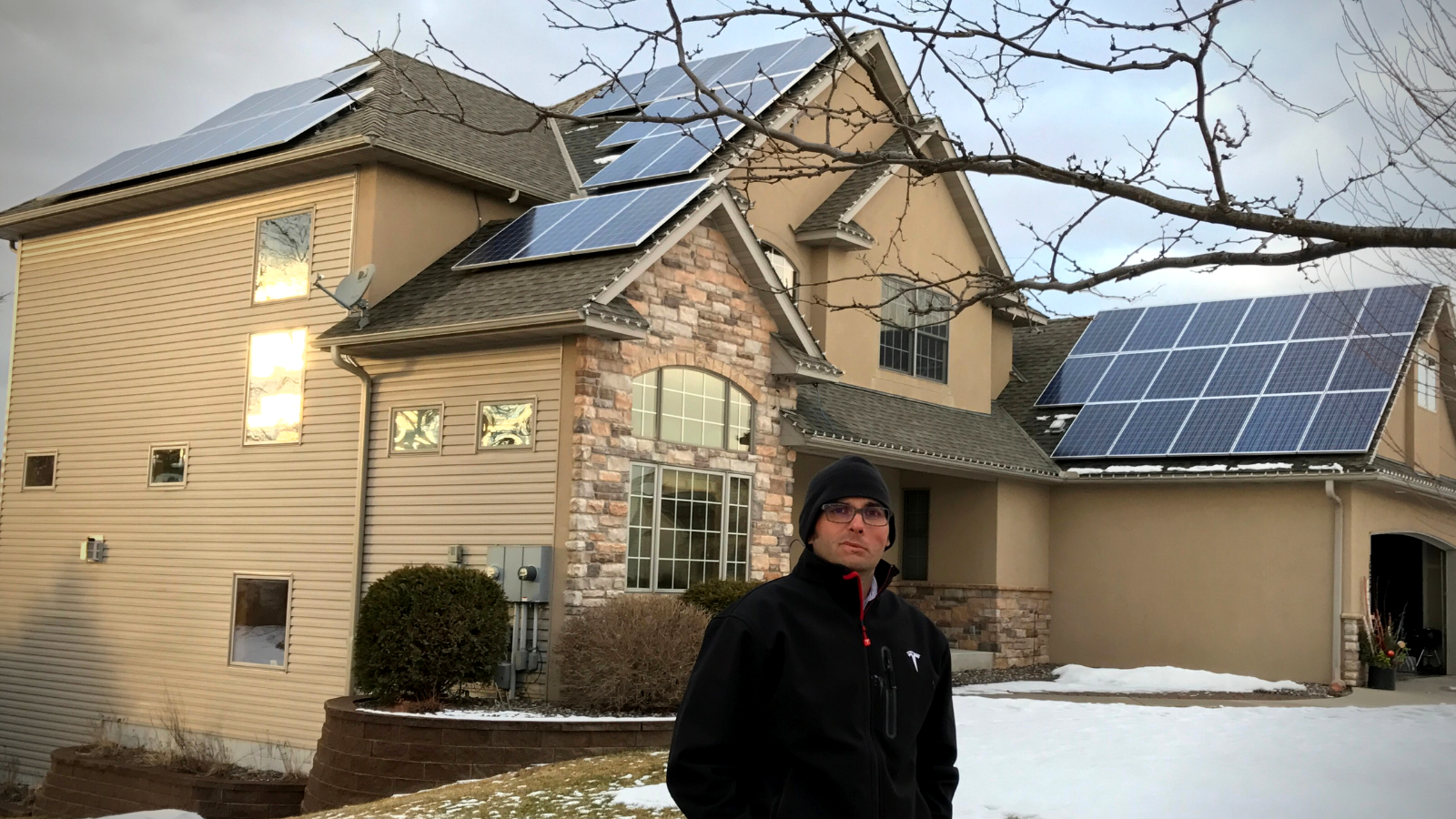 A house with a solar panels