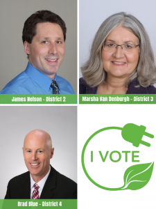 James Nelson, Marsha Van Denburgh, Brad Blue, Connecting Us I Vote logo
