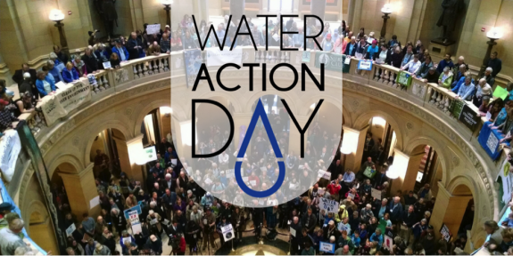 Water Action Day logo over picture of the Minnesota State Capitol rotunda