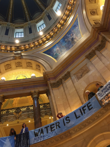 Minnesota State Capitol rotunda decorated with banners for the Water Action Day 2019 Rally