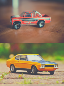 A toy truck and a toy car