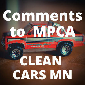Comments to MPCA Clean Cars MN Button