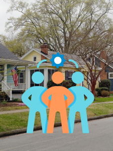 A graphic illustrating cooperation in front of an image of houses on a residential street.