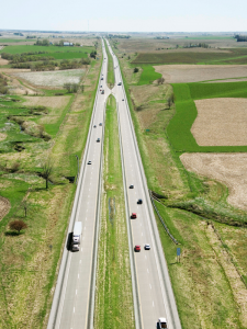 Cars on a rural highway