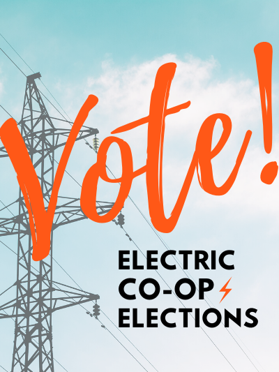 """Electric Lines with text """"Vote - Electric Co-op Elections"""""""