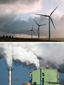 Wind Turbines and a Coal Power Plant