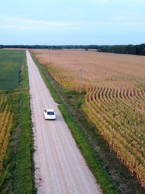 Car driving down a gravel road with corn fields on either side