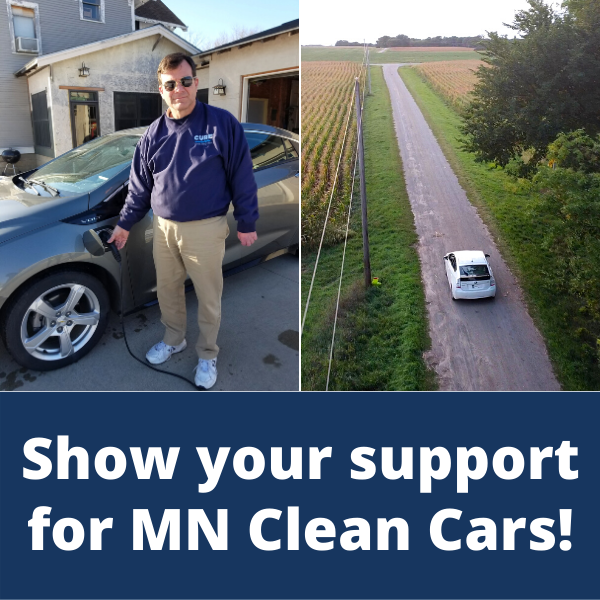Pete plugging in a Chevy Volt and a Prius driving down a grave road - Support Clean Cars button