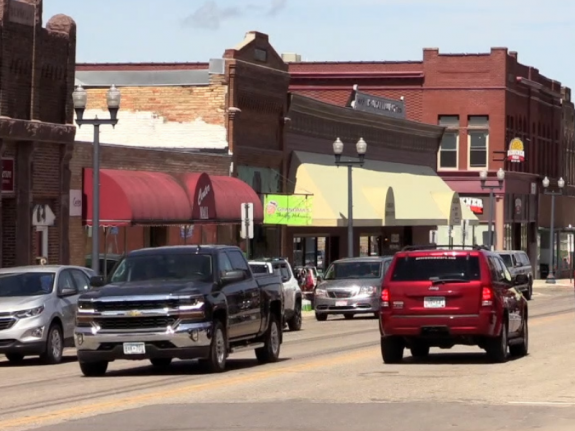 Cars and trucks on a rural MN mainstreet.