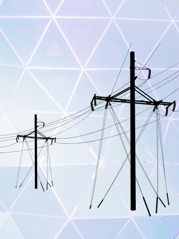 Abstract pastel triangle graphic with powerlines